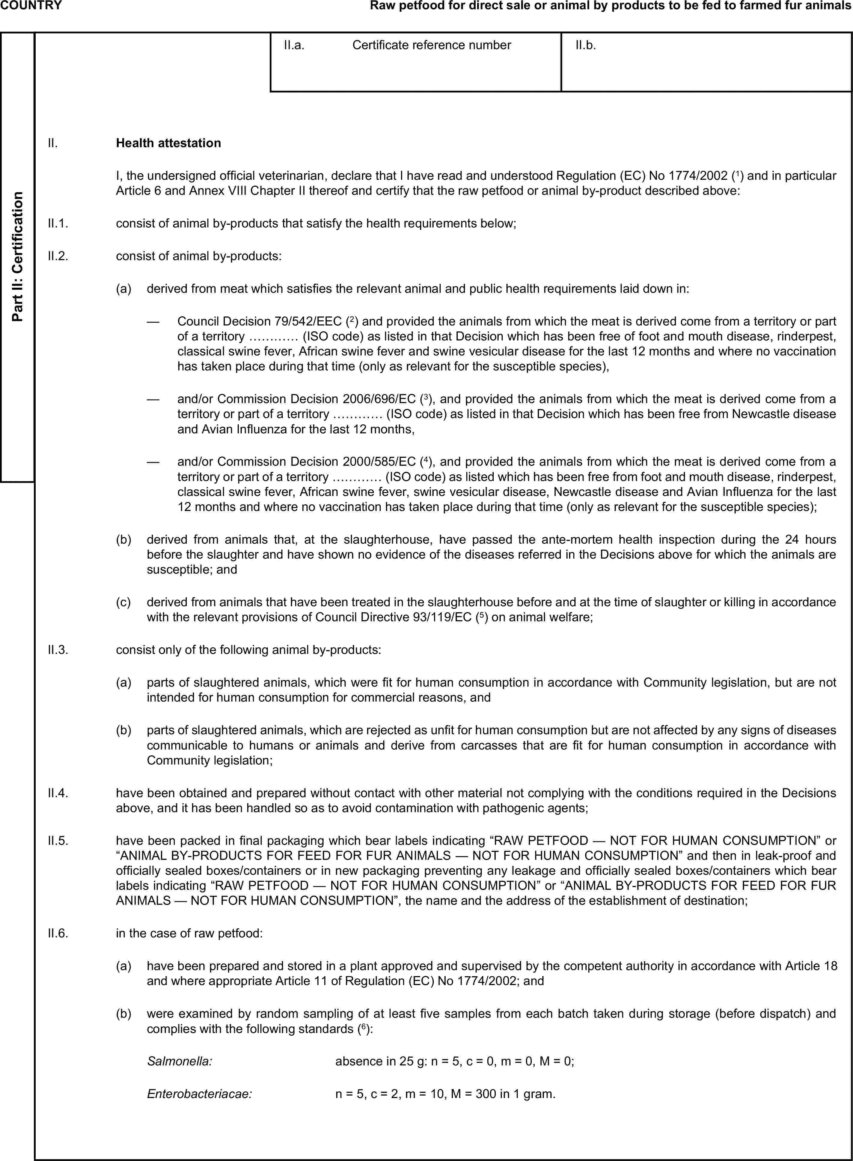 COUNTRYRaw petfood for direct sale or animal by products to be fed to farmed fur animalsII.a. Certificate reference numberII.b.II. Health attestationPart II: CertificationI, the undersigned official veterinarian, declare that I have read and understood Regulation (EC) No1774/2002(1) and in particular Article 6 and Annex VIII Chapter II thereof and certify that the raw petfood or animal by-product described above:II.1. consist of animal by-products that satisfy the health requirements below;II.2. consist of animal by-products:(a) derived from meat which satisfies the relevant animal and public health requirements laid down in:— Council Decision 79/542/EEC(2) and provided the animals from which the meat is derived come from a territory or part of a territory ………… (ISO code) as listed in that Decision which has been free of foot and mouth disease, rinderpest, classical swine fever, African swine fever and swine vesicular disease for the last 12 months and where no vaccination has taken place during that time (only as relevant for the susceptible species),— and/or Commission Decision 2006/696/EC(3), and provided the animals from which the meat is derived come from a territory or part of a territory ………… (ISO code) as listed in that Decision which has been free from Newcastle disease and Avian Influenza for the last 12 months,— and/or Commission Decision 2000/585/EC(4), and provided the animals from which the meat is derived come from a territory or part of a territory ………… (ISO code) as listed which has been free from foot and mouth disease, rinderpest, classical swine fever, African swine fever, swine vesicular disease, Newcastle disease and Avian Influenza for the last 12 months and where no vaccination has taken place during that time (only as relevant for the susceptible species);(b) derived from animals that, at the slaughterhouse, have passed the ante-mortem health inspection during the 24 hours before the slaughter and have shown no evidence of the diseases refer