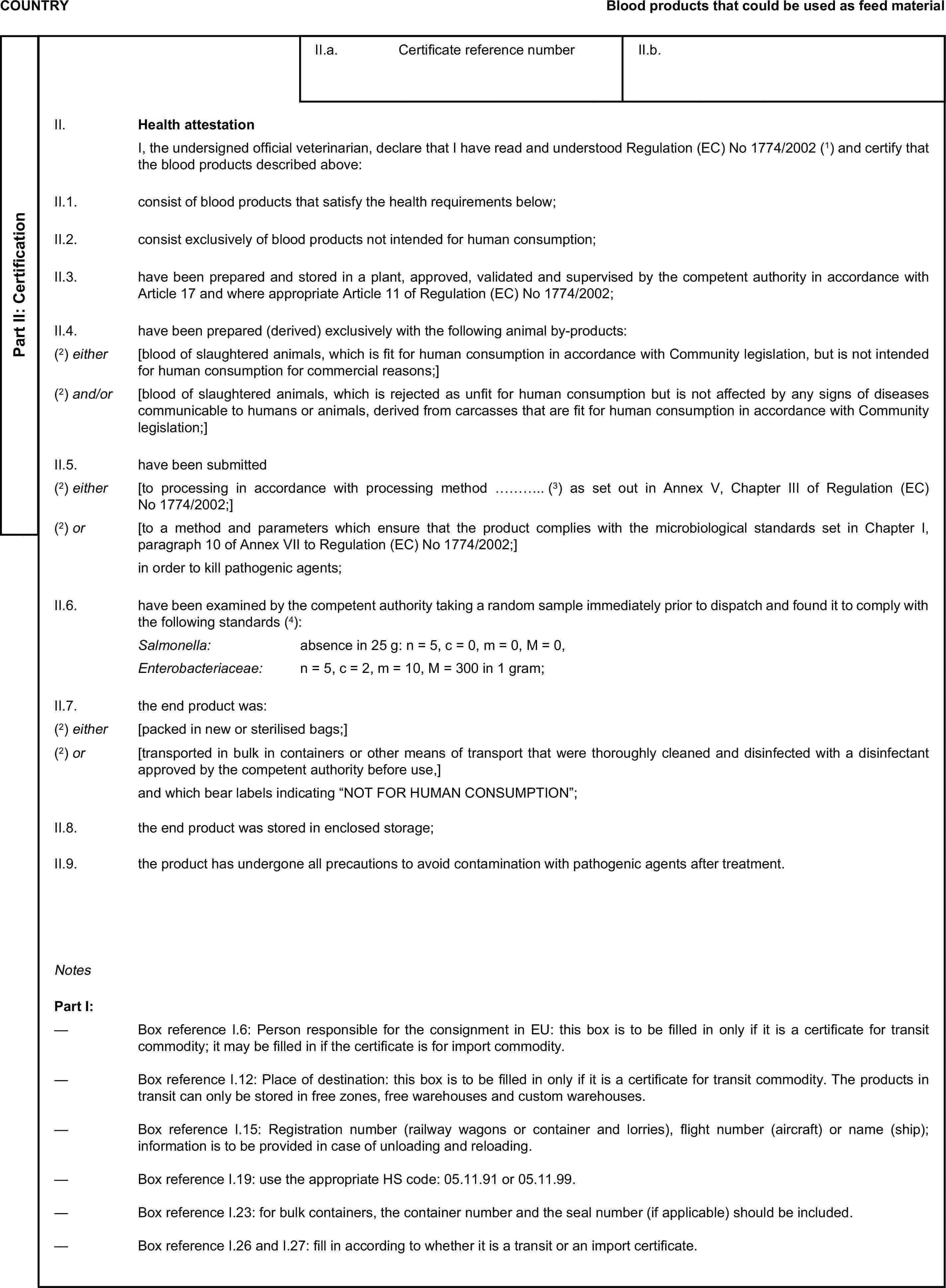 COUNTRYBlood products that could be used as feed materialPart II: CertificationII.a. Certificate reference numberII.b.II. Health attestationI, the undersigned official veterinarian, declare that I have read and understood Regulation (EC) No1774/2002(1) and certify that the blood products described above:II.1. consist of blood products that satisfy the health requirements below;II.2. consist exclusively of blood products not intended for human consumption;II.3. have been prepared and stored in a plant, approved, validated and supervised by the competent authority in accordance with Article 17 and where appropriate Article 11 of Regulation (EC) No 1774/2002;II.4. have been prepared (derived) exclusively with the following animal by-products:(2) either [blood of slaughtered animals, which is fit for human consumption in accordance with Community legislation, but is not intended for human consumption for commercial reasons;](2) and/or [blood of slaughtered animals, which is rejected as unfit for human consumption but is not affected by any signs of diseases communicable to humans or animals, derived from carcasses that are fit for human consumption in accordance with Community legislation;]II.5. have been submitted(2) either [to processing in accordance with processing method ………..(3) as set out in Annex V, Chapter III of Regulation (EC) No 1774/2002;](2) or [to a method and parameters which ensure that the product complies with the microbiological standards set in Chapter I, paragraph 10 of Annex VII to Regulation (EC) No 1774/2002;]in order to kill pathogenic agents;II.6. have been examined by the competent authority taking a random sample immediately prior to dispatch and found it to comply with the following standards(4):Salmonella: absence in 25g: n = 5, c = 0, m = 0, M = 0,Enterobacteriaceae: n = 5, c = 2, m = 10, M = 300 in 1 gram;II.7. the end product was:(2) either [packed in new or sterilised bags;](2) or [transported in bulk in containers or other means of tr