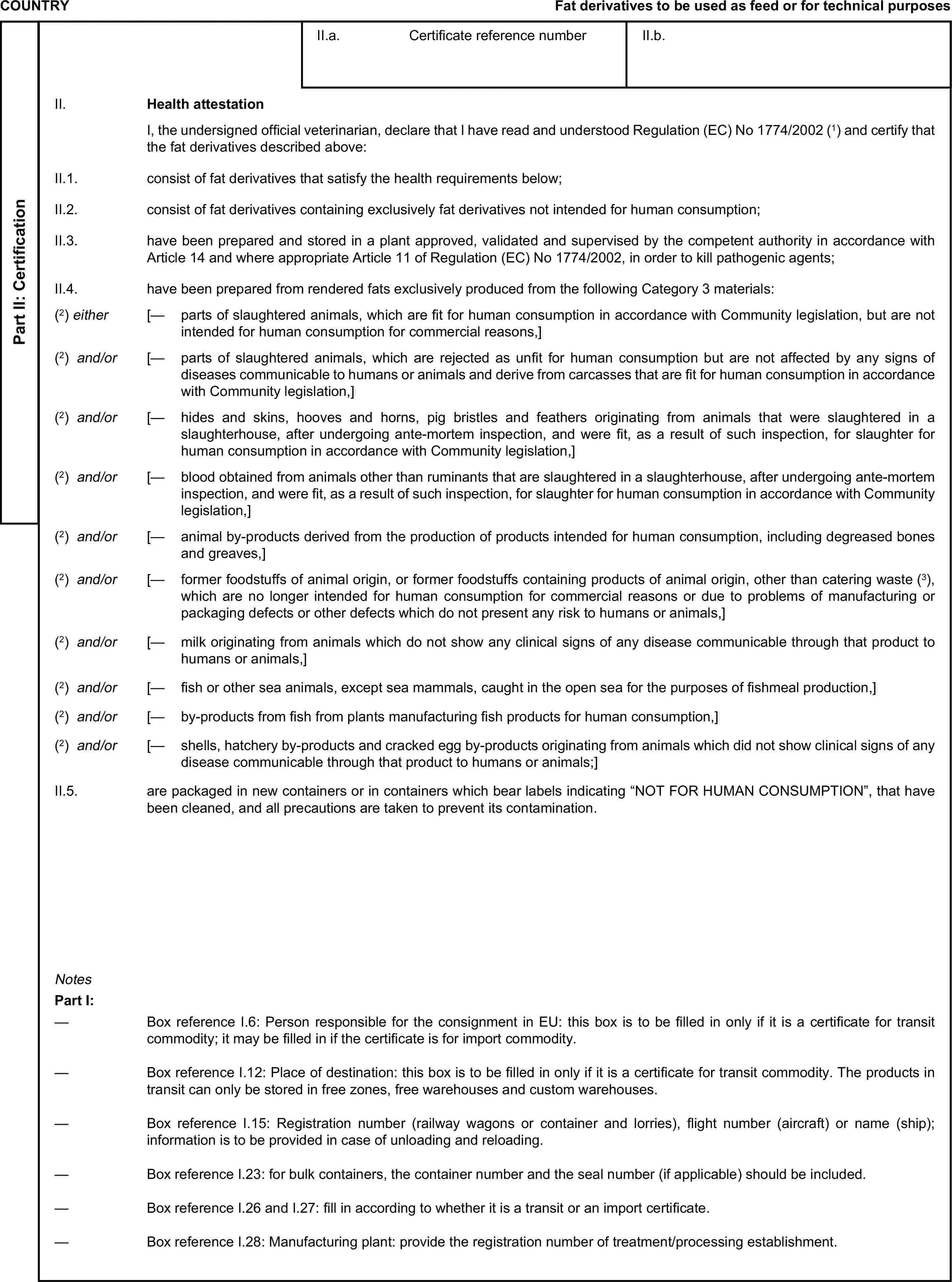 COUNTRYFat derivatives to be used as feed or for technical purposesPart II: CertificationII.a. Certificate reference numberII.b.II. Health attestationI, the undersigned official veterinarian, declare that I have read and understood Regulation (EC) No1774/2002 (1) and certify that the fat derivatives described above:II.1. consist of fat derivatives that satisfy the health requirements below;II.2. consist of fat derivatives containing exclusively fat derivatives not intended for human consumption;II.3. have been prepared and stored in a plant approved, validated and supervised by the competent authority in accordance with Article 14 and where appropriate Article 11 of Regulation (EC) No 1774/2002, in order to kill pathogenic agents;II.4. have been prepared from rendered fats exclusively produced from the following Category 3 materials:(2) either [— parts of slaughtered animals, which are fit for human consumption in accordance with Community legislation, but are not intended for human consumption for commercial reasons,](2) and/or [— parts of slaughtered animals, which are rejected as unfit for human consumption but are not affected by any signs of diseases communicable to humans or animals and derive from carcasses that are fit for human consumption in accordance with Community legislation,](2) and/or [— hides and skins, hooves and horns, pig bristles and feathers originating from animals that were slaughtered in a slaughterhouse, after undergoing ante-mortem inspection, and were fit, as a result of such inspection, for slaughter for human consumption in accordance with Community legislation,](2) and/or [— blood obtained from animals other than ruminants that are slaughtered in a slaughterhouse, after undergoing ante-mortem inspection, and were fit, as a result of such inspection, for slaughter for human consumption in accordance with Community legislation,](2) and/or [— animal by-products derived from the production of products intended for human consumption, includ