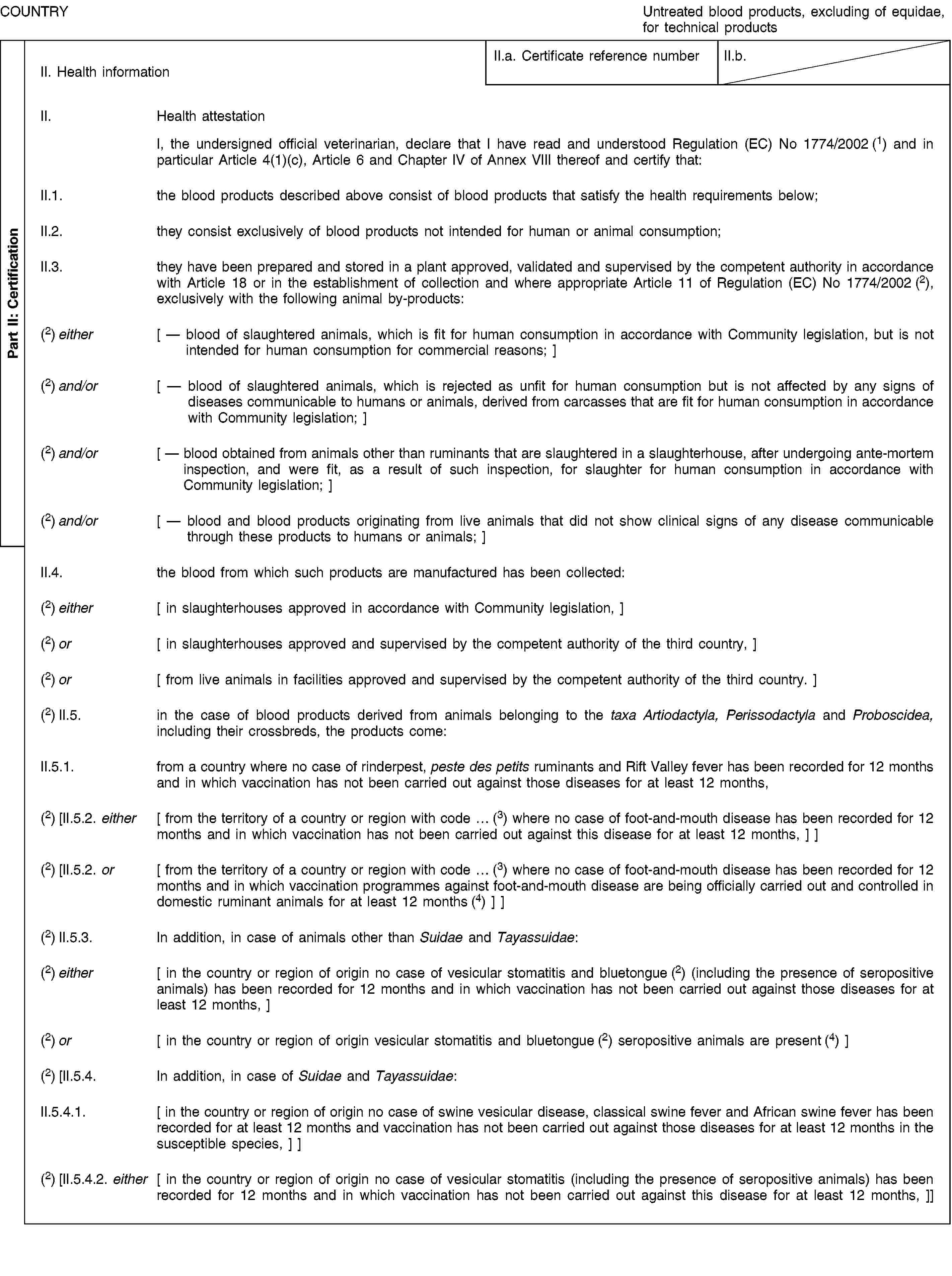Part II: CertificationCOUNTRYUntreated blood products, excluding of equidae, for technical productsII. Health informationII.a. Certificate reference numberII.b.II. Health attestationI, the undersigned official veterinarian, declare that I have read and understood Regulation (EC) No 1774/2002 (1) and in particular Article 4(1)(c), Article 6 and Chapter IV of Annex VIII thereof and certify that:II.1. the blood products described above consist of blood products that satisfy the health requirements below;II.2. they consist exclusively of blood products not intended for human or animal consumption;II.3. they have been prepared and stored in a plant approved, validated and supervised by the competent authority in accordance with Article 18 or in the establishment of collection and where appropriate Article 11 of Regulation (EC) No 1774/2002 (2), exclusively with the following animal by-products:(2) either [ — blood of slaughtered animals, which is fit for human consumption in accordance with Community legislation, but is not intended for human consumption for commercial reasons; ](2) and/or [ — blood of slaughtered animals, which is rejected as unfit for human consumption but is not affected by any signs of diseases communicable to humans or animals, derived from carcasses that are fit for human consumption in accordance with Community legislation; ](2) and/or [ — blood obtained from animals other than ruminants that are slaughtered in a slaughterhouse, after undergoing ante-mortem inspection, and were fit, as a result of such inspection, for slaughter for human consumption in accordance with Community legislation; ](2) and/or [ — blood and blood products originating from live animals that did not show clinical signs of any disease communicable through these products to humans or animals; ]II.4. the blood from which such products are manufactured has been collected:(2) either [ in slaughterhouses approved in accordance with Community legislation, ](2) or [ in slaughterhou