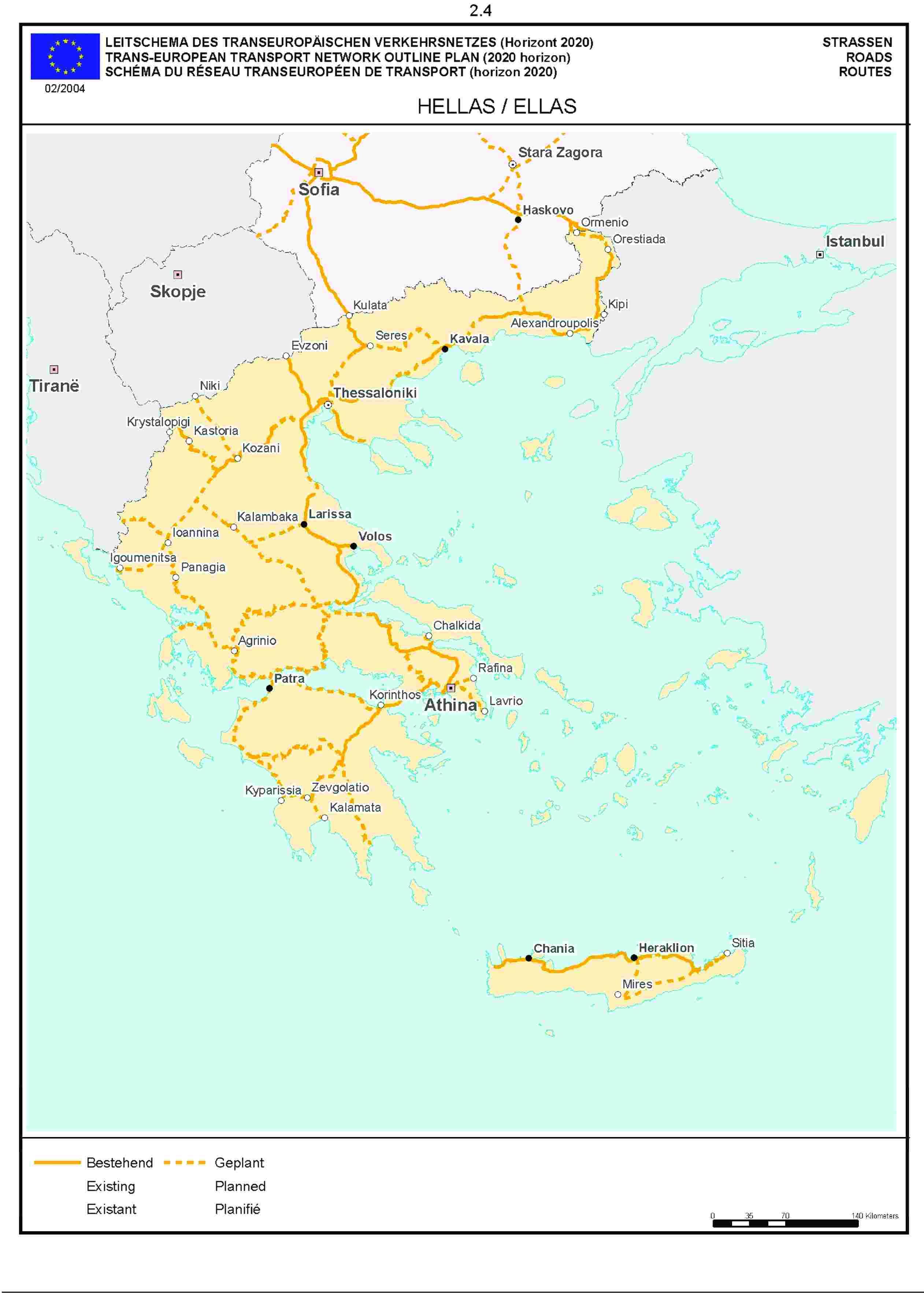 2.4LEITSCHEMA DES TRANSEUROPÄISCHEN VERKEHRSNETZES (Horizont 2020) STRASSENTRANS-EUROPEAN TRANSPORT NETWORK OUTLINE PLAN (2020 horizon) ROADSSCHÉMA DU RÉSEAU TRANSEUROPÉEN DE TRANSPORT (horizon 2020) ROUTE02/2004HELLAS / ELLAS