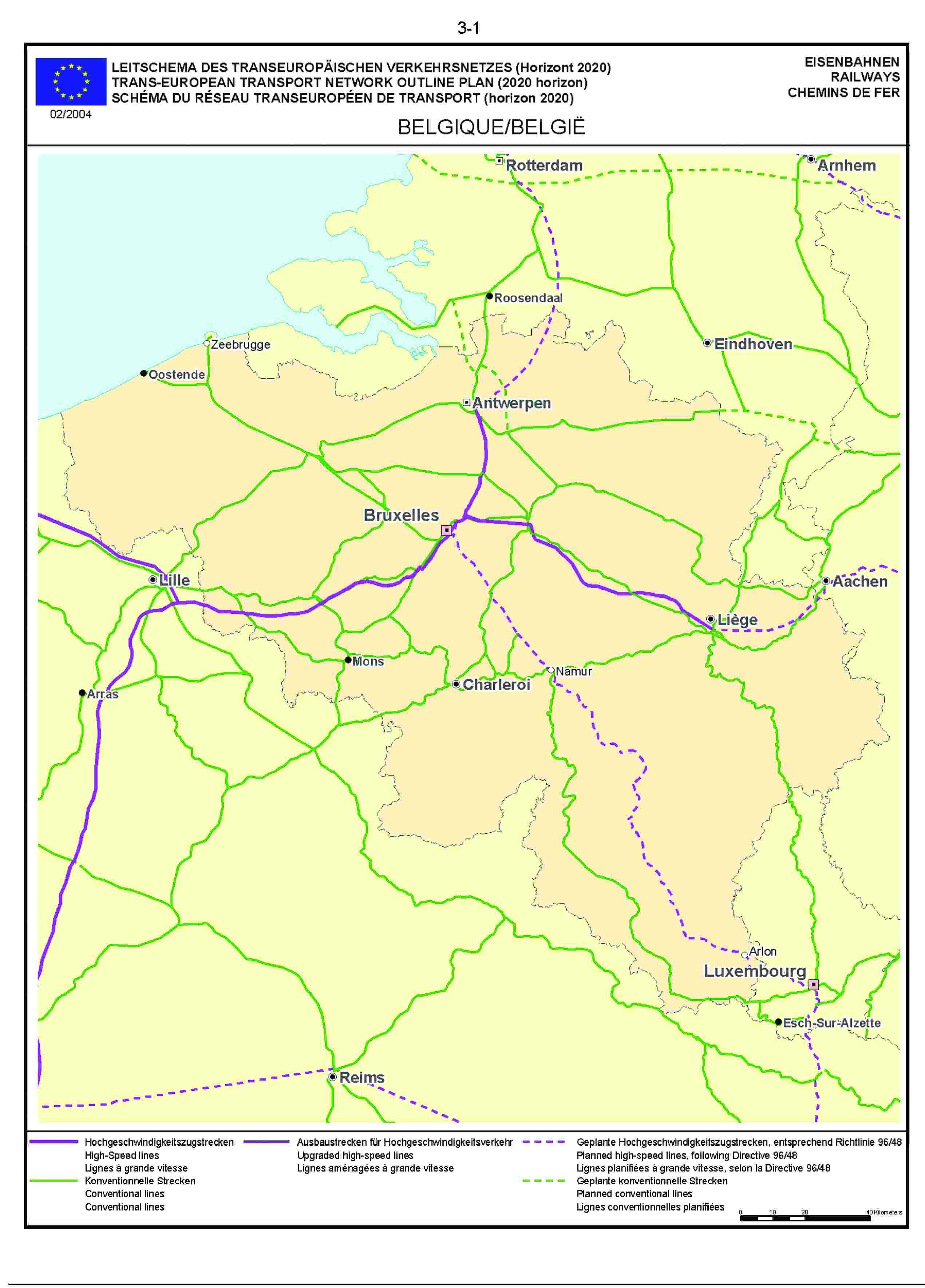 3.1LEITSCHEMA DES TRANSEUROPÄISCHEN VERKEHRSNETZES (Horizont 2020) EISENBAHNENTRANS-EUROPEAN TRANSPORT NETWORK OUTLINE PLAN (2020 horizon) RAILWAYSSCHÉMA DU RÉSEAU TRANSEUROPÉEN DE TRANSPORT (horizon 2020) CHEMINS DE FER02/2004BELGIQUE/BELGIË