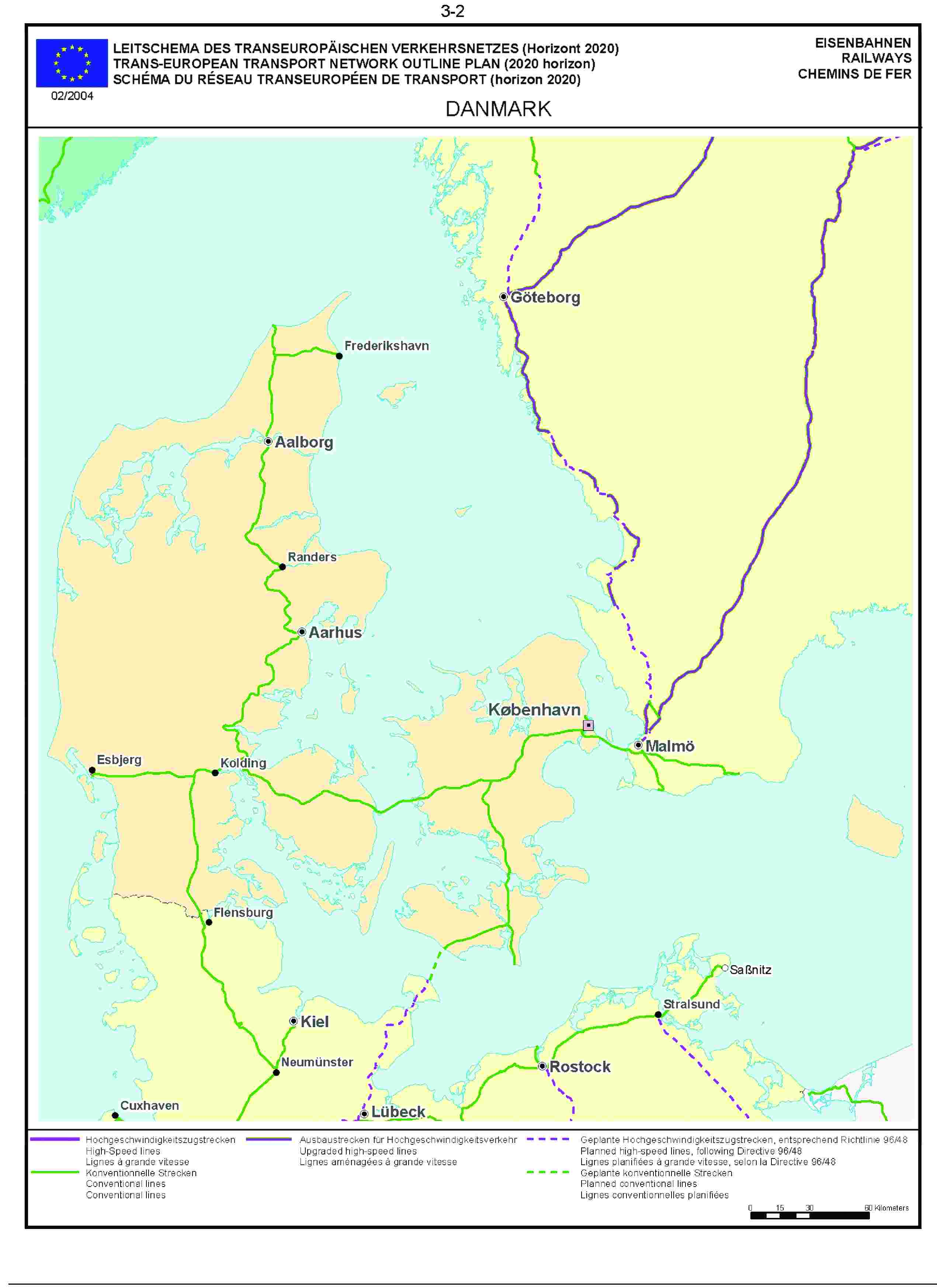 3.2LEITSCHEMA DES TRANSEUROPÄISCHEN VERKEHRSNETZES (Horizont 2020) EISENBAHNENTRANS-EUROPEAN TRANSPORT NETWORK OUTLINE PLAN (2020 horizon) RAILWAYSSCHÉMA DU RÉSEAU TRANSEUROPÉEN DE TRANSPORT (horizon 2020) CHEMINS DE FER02/2004DANMARK