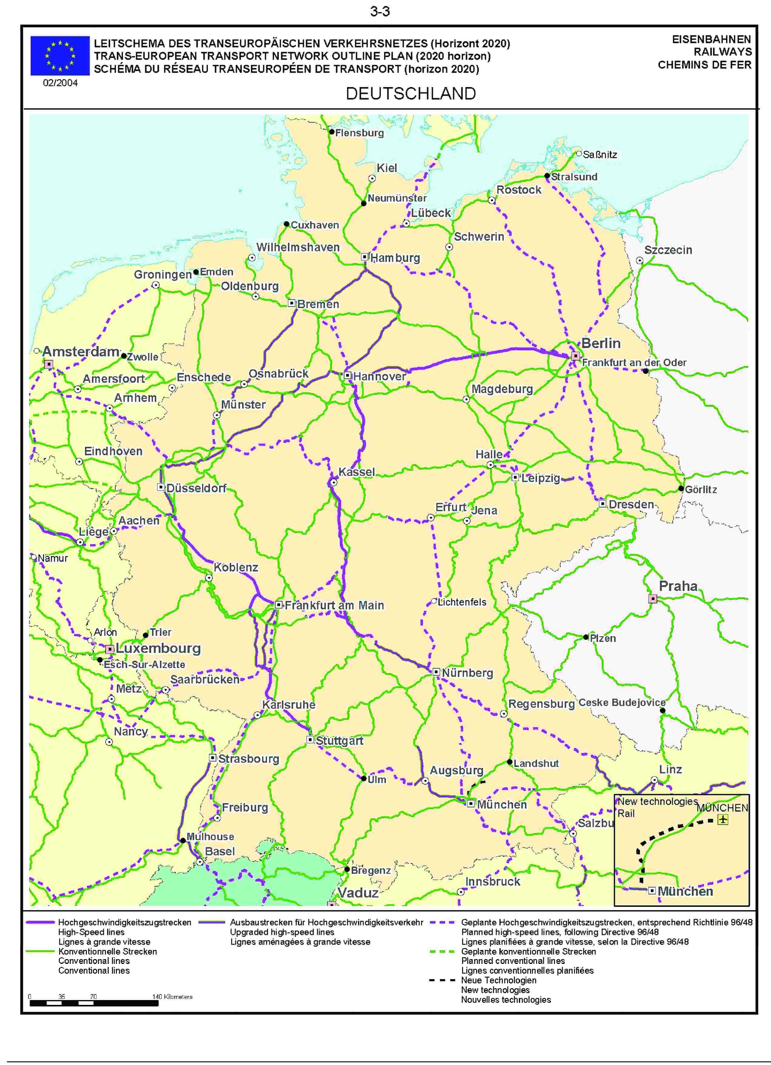 3.3LEITSCHEMA DES TRANSEUROPÄISCHEN VERKEHRSNETZES (Horizont 2020) EISENBAHNENTRANS-EUROPEAN TRANSPORT NETWORK OUTLINE PLAN (2020 horizon) RAILWAYSSCHÉMA DU RÉSEAU TRANSEUROPÉEN DE TRANSPORT (horizon 2020) CHEMINS DE FER02/2004DEUTSCHLAND