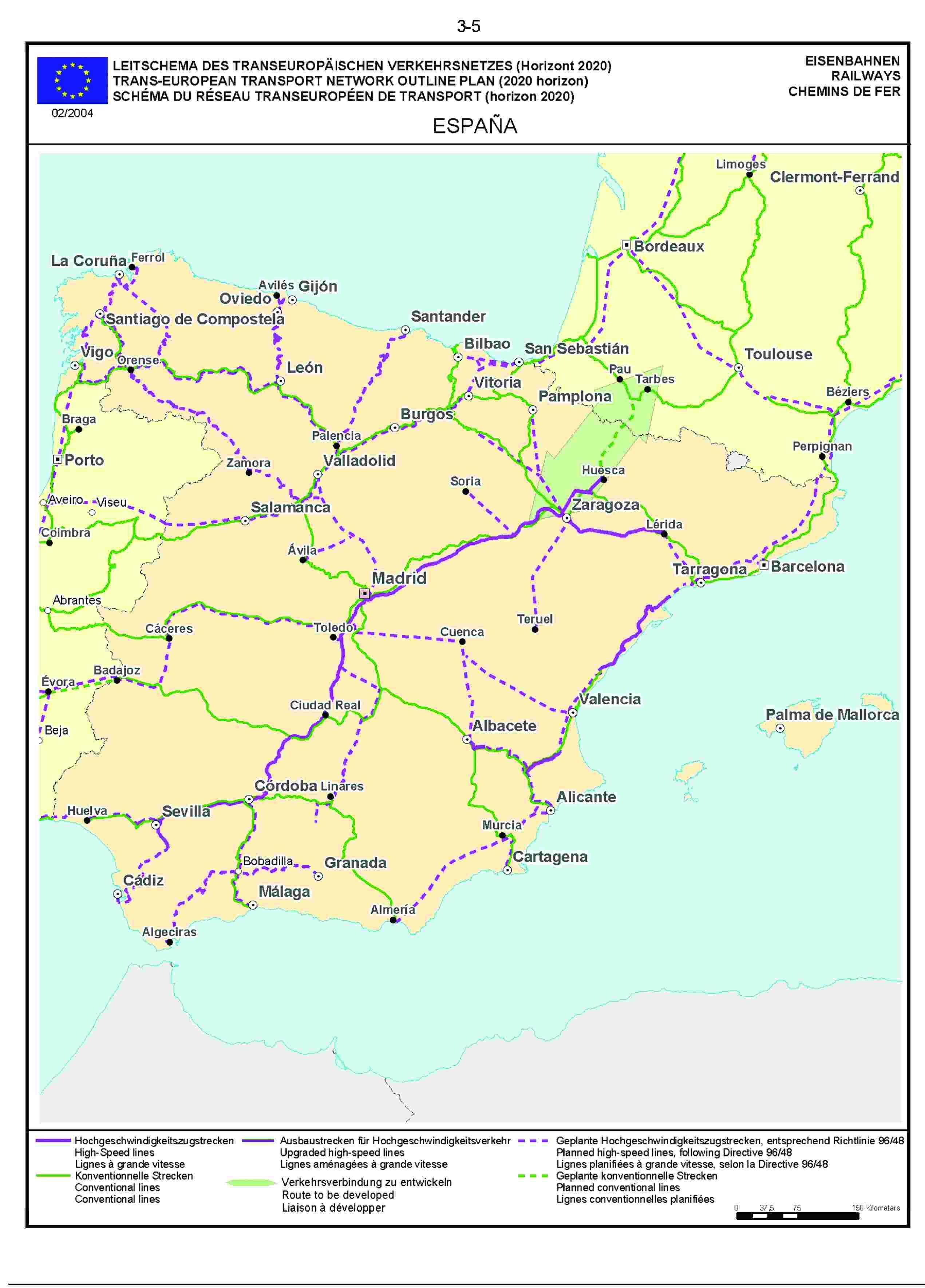 3.5LEITSCHEMA DES TRANSEUROPÄISCHEN VERKEHRSNETZES (Horizont 2020) EISENBAHNENTRANS-EUROPEAN TRANSPORT NETWORK OUTLINE PLAN (2020 horizon) RAILWAYSSCHÉMA DU RÉSEAU TRANSEUROPÉEN DE TRANSPORT (horizon 2020) CHEMINS DE FER02/2004ESPAÑA