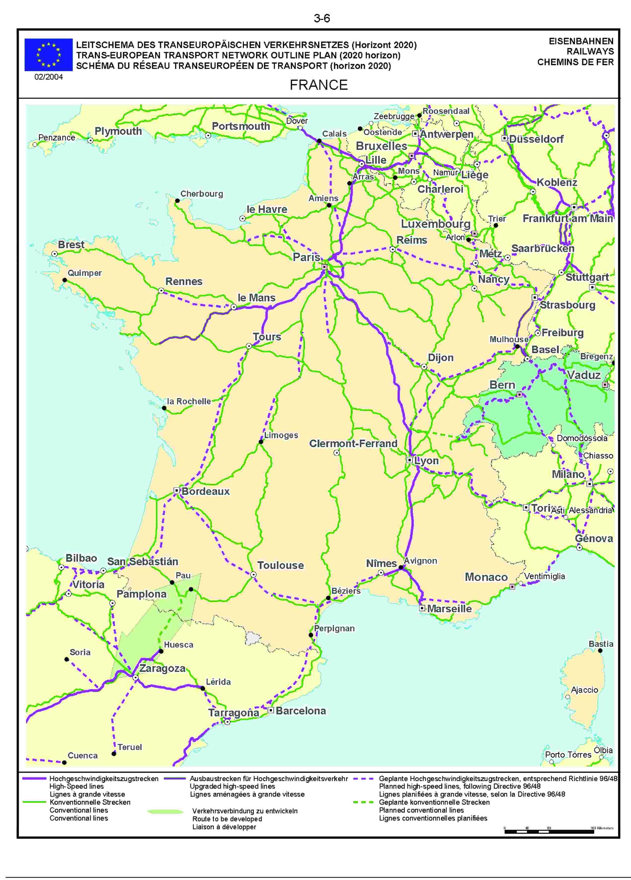 3.6LEITSCHEMA DES TRANSEUROPÄISCHEN VERKEHRSNETZES (Horizont 2020) EISENBAHNENTRANS-EUROPEAN TRANSPORT NETWORK OUTLINE PLAN (2020 horizon) RAILWAYSSCHÉMA DU RÉSEAU TRANSEUROPÉEN DE TRANSPORT (horizon 2020) CHEMINS DE FER02/2004FRANCE