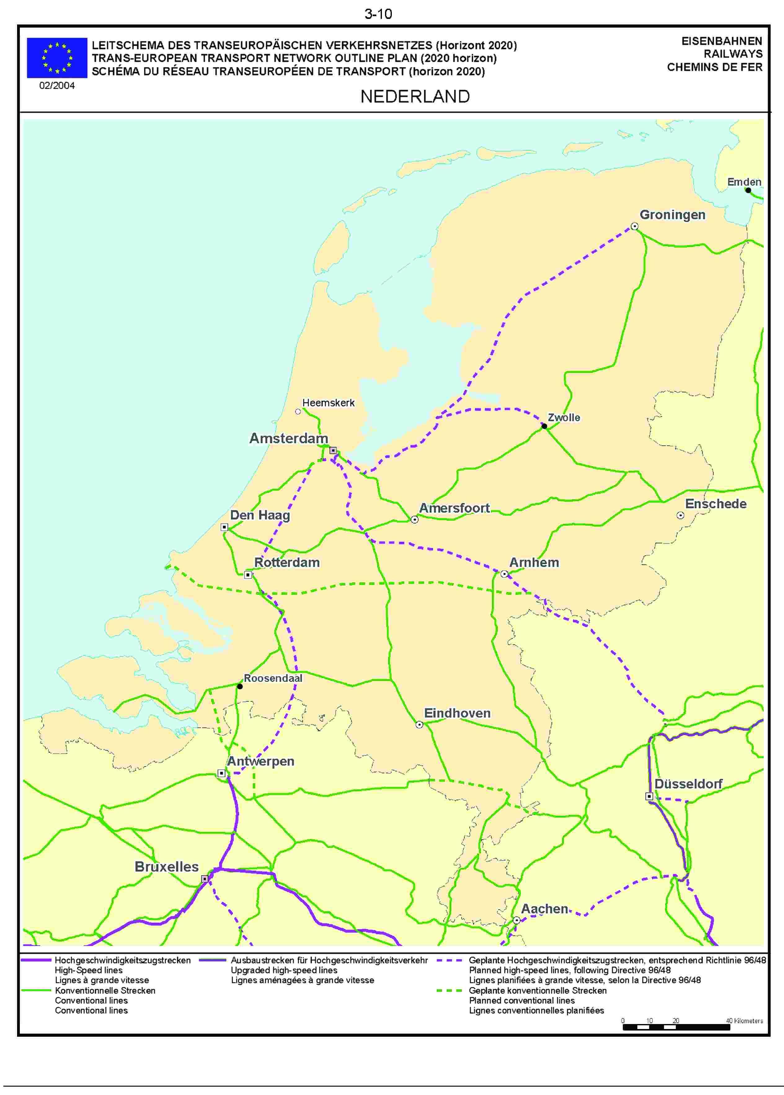 3.10LEITSCHEMA DES TRANSEUROPÄISCHEN VERKEHRSNETZES (Horizont 2020) EISENBAHNENTRANS-EUROPEAN TRANSPORT NETWORK OUTLINE PLAN (2020 horizon) RAILWAYSSCHÉMA DU RÉSEAU TRANSEUROPÉEN DE TRANSPORT (horizon 2020) CHEMINS DE FER02/2004NEDERLAND