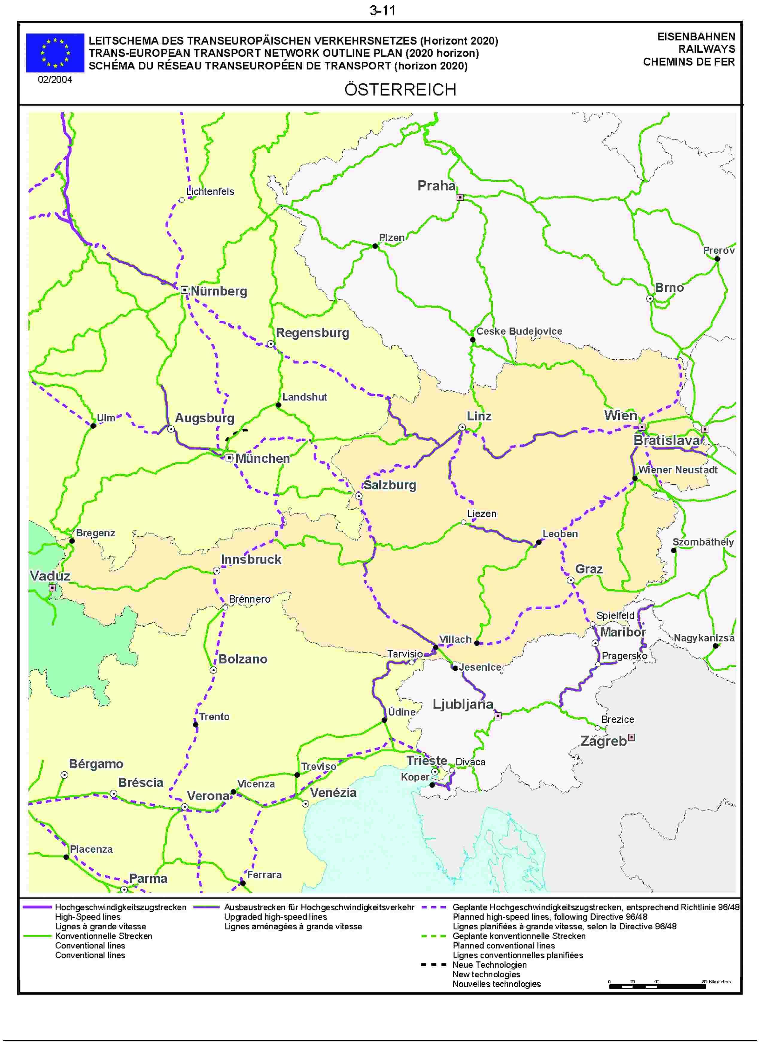 3.11LEITSCHEMA DES TRANSEUROPÄISCHEN VERKEHRSNETZES (Horizont 2020) EISENBAHNENTRANS-EUROPEAN TRANSPORT NETWORK OUTLINE PLAN (2020 horizon) RAILWAYSSCHÉMA DU RÉSEAU TRANSEUROPÉEN DE TRANSPORT (horizon 2020) CHEMINS DE FER02/2004ÖSTERREICH