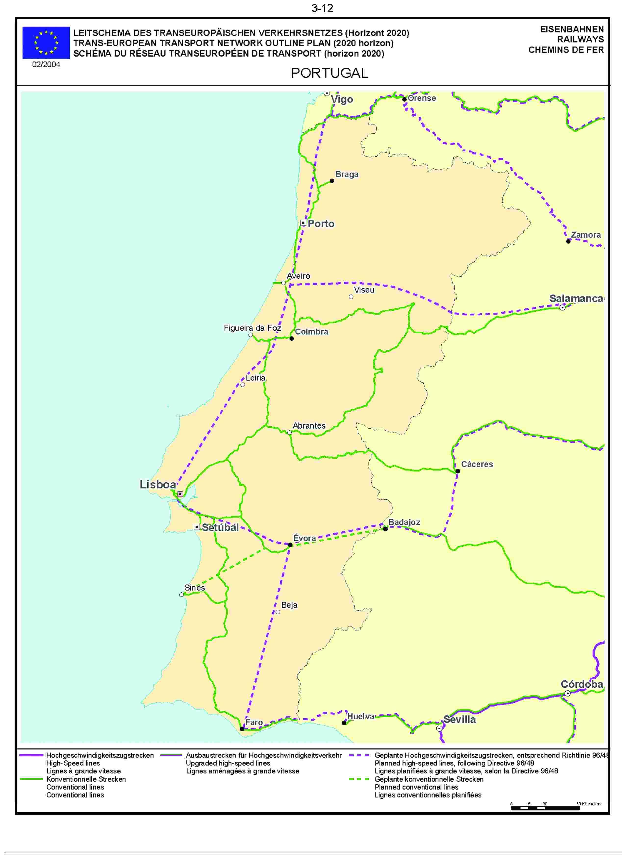 3.12LEITSCHEMA DES TRANSEUROPÄISCHEN VERKEHRSNETZES (Horizont 2020) EISENBAHNENTRANS-EUROPEAN TRANSPORT NETWORK OUTLINE PLAN (2020 horizon) RAILWAYSSCHÉMA DU RÉSEAU TRANSEUROPÉEN DE TRANSPORT (horizon 2020) CHEMINS DE FER02/2004PORTUGAL