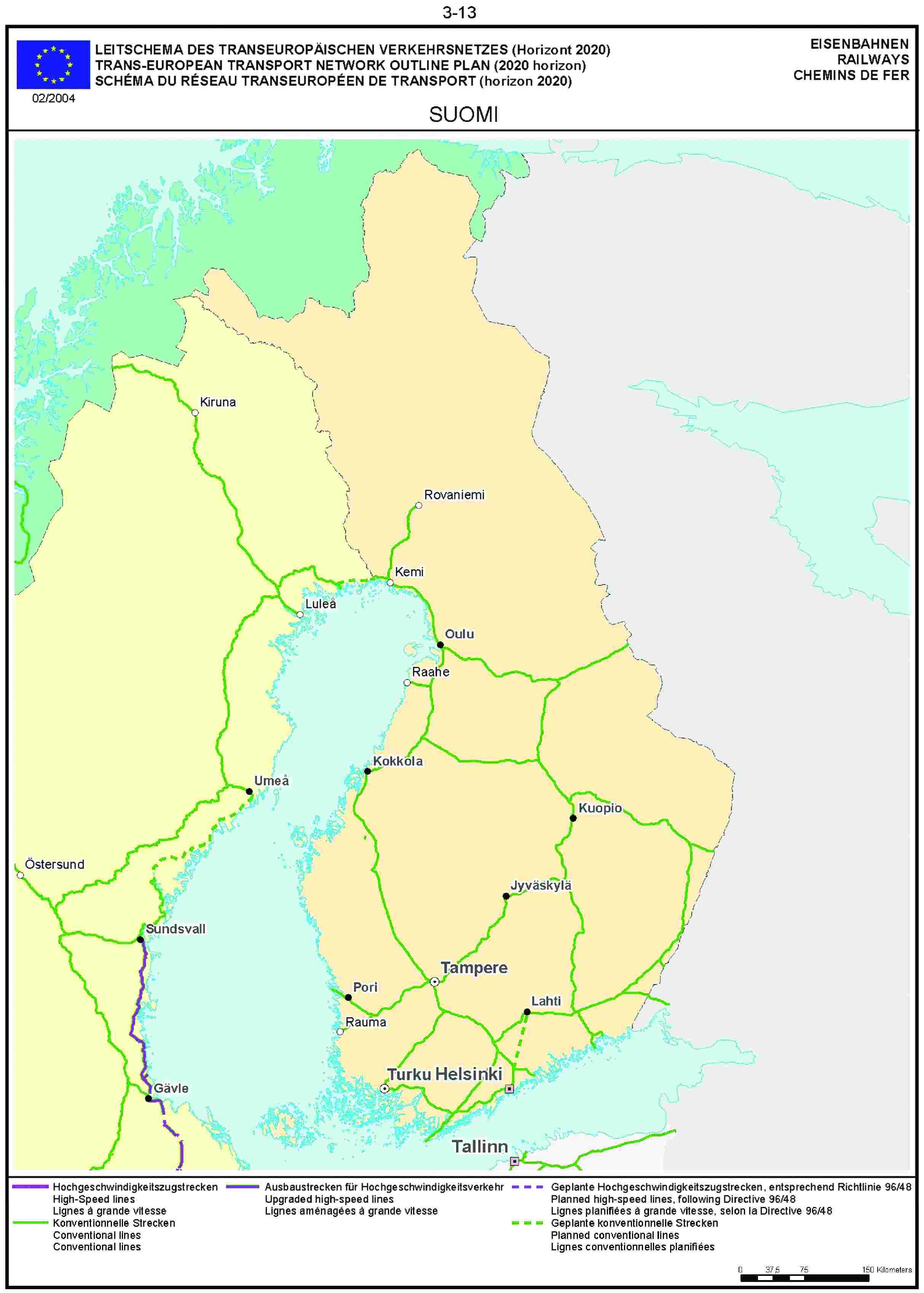 3.13LEITSCHEMA DES TRANSEUROPÄISCHEN VERKEHRSNETZES (Horizont 2020) EISENBAHNENTRANS-EUROPEAN TRANSPORT NETWORK OUTLINE PLAN (2020 horizon) RAILWAYSSCHÉMA DU RÉSEAU TRANSEUROPÉEN DE TRANSPORT (horizon 2020) CHEMINS DE FER02/2004SUOMI