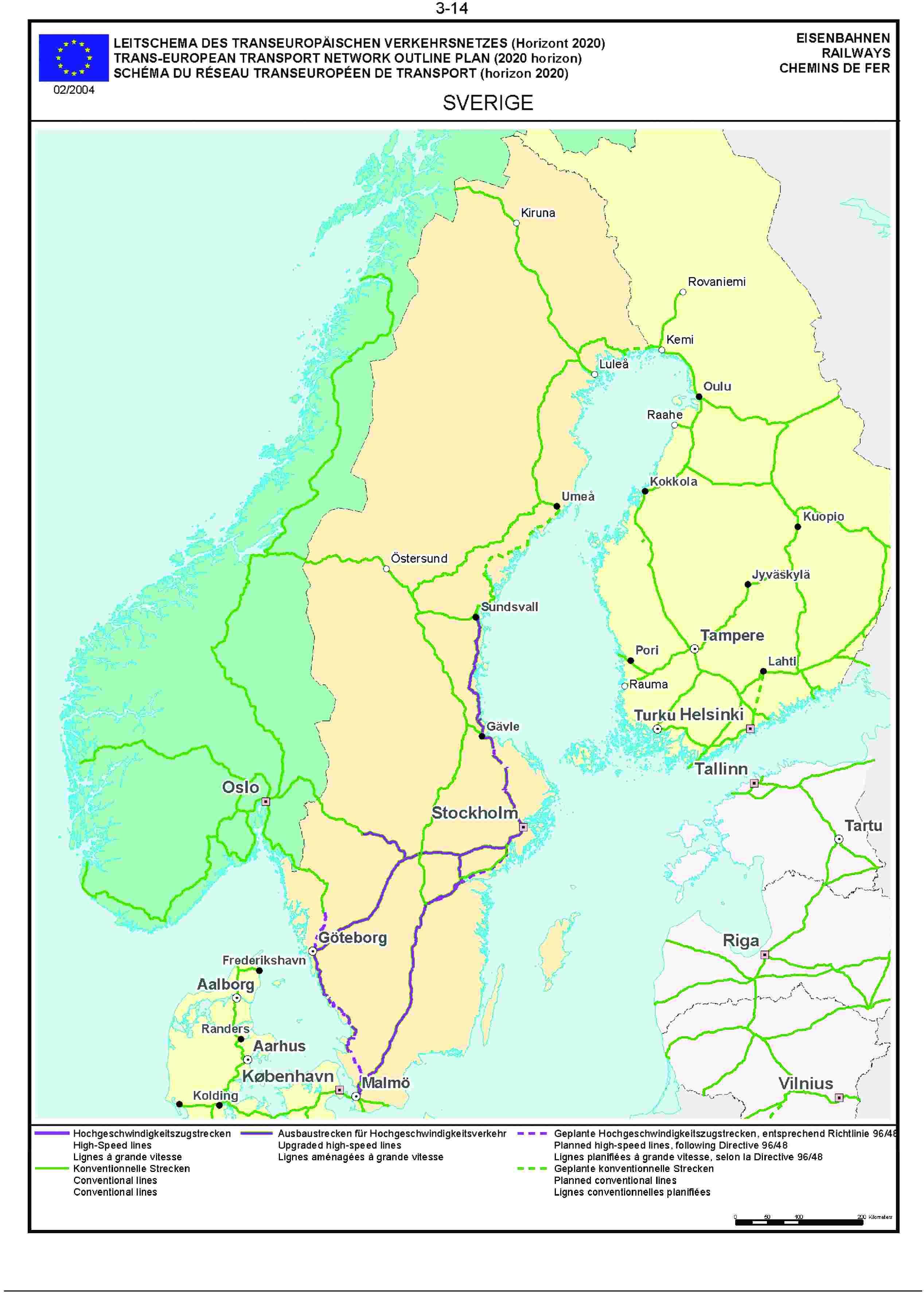 3.14LEITSCHEMA DES TRANSEUROPÄISCHEN VERKEHRSNETZES (Horizont 2020) EISENBAHNENTRANS-EUROPEAN TRANSPORT NETWORK OUTLINE PLAN (2020 horizon) RAILWAYSSCHÉMA DU RÉSEAU TRANSEUROPÉEN DE TRANSPORT (horizon 2020) CHEMINS DE FER02/2004SVERIGE